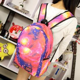 Fashion Teenagers School Bags Stars Universe Space Printing Preppy Style Backpack Women British Flag Bag(China (Mainland))