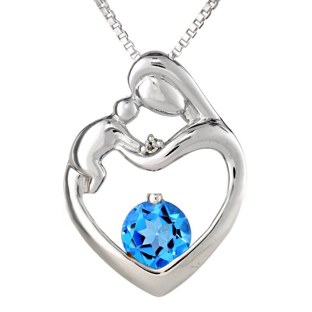 Mother Child Heart Love100% Natural Blue Topaz Diamond Pendant Gemstone Fine Jewelry 925 Sterling Silver Charm Gift For Women(China (Mainland))
