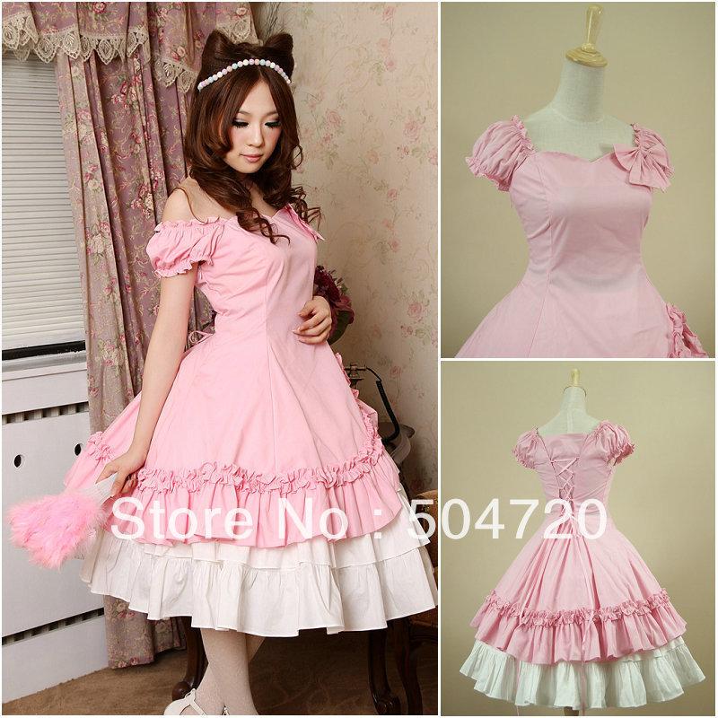 ON Sale! Freeship pink Cotton short sleeves Classic Sweet Lolita Dress/victorian dress cosplay dress Size US 6-26 XS-6XL V-913