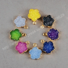 Buy BOROSA 10PCS/LOT Rainbow Flower Natural Crystal Druzy Druzy Geode Charm Gold Color Dyed Druzy Charm Necklace Pendants G0215 for $37.31 in AliExpress store