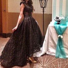 2015 Black Ball Gown Lace Dubai Saudi Arabia Middle East Muslim Long Evening Dresses O-neck High Low Prom Formal Evening Gowns(China (Mainland))