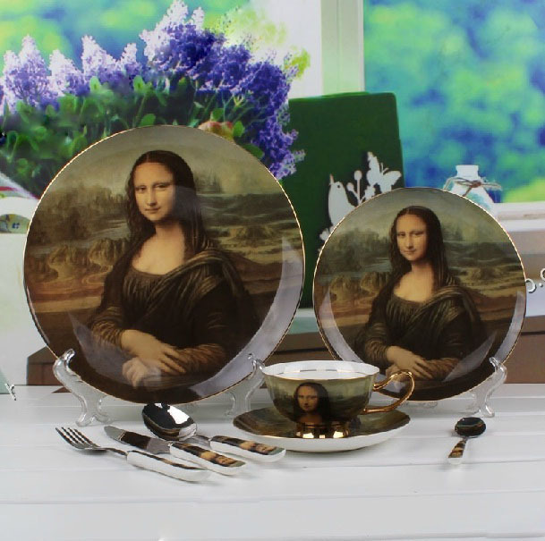 Mona Lisa Pattern Oil Painting Best Porcelain Dinnerware Spoon and Fork Set Bone China Dinnerware Sets(China (Mainland))