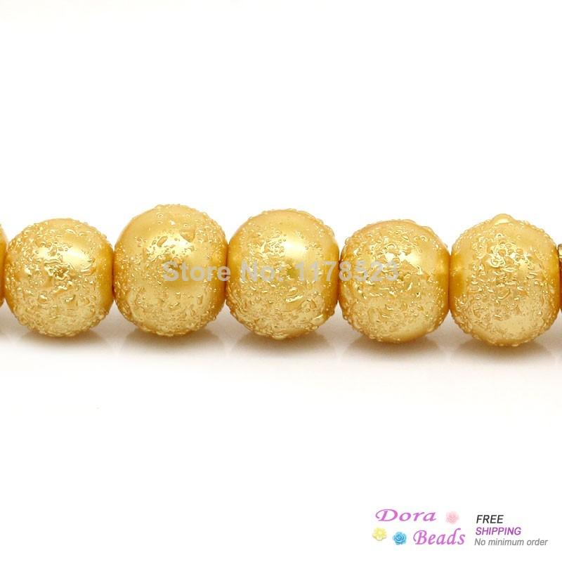 "Glass Loose Beads Ball Golden Spray Painted 8mm Dia,85.5cm(33 5/8"") long,1 Strand(approx 117PCs) (B28299)8seasons(China (Mainland))"