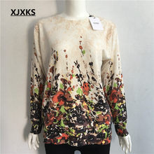 XJXKS негабаритный свитер женский джемпер модная одежда с длинными рукавами и принтом О-образным вырезом пуловеры трикотажные женские свитер...(China)