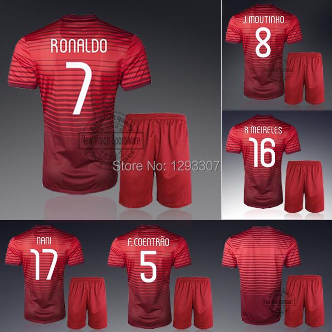 2014 Embroidery Home Cristiano Ronaldo Nani Coentrao Pepe Football Kit Uniform Men Sports Shirt Outfit Soccer Jersey Set(China (Mainland))