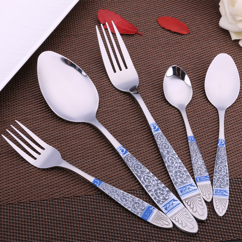 National wind Blue Totem Spoons Fork Tableware Tea Coffee Ice Cream Spoons Stainless Steel Dinnerware D1(China (Mainland))