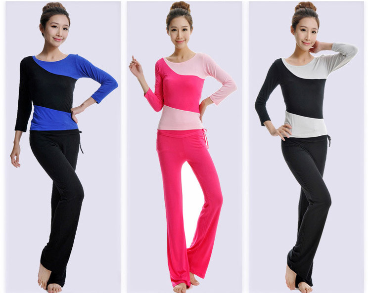 2015 New special fashional sports casual pants yoga clothes long sleeve suit Modal positive brand yoga dance fitness apparel #6(China (Mainland))
