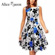 ALICE QUEEN Vintage Women Summer Dress Linen Audrey Hepburn Robe Blanche Vestidos Polka Rockabilly Plus Big Size Dashiki Dress
