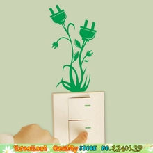 Creative Green Plant Plug Socket Flower Wall Stickers Power Switch Decoration Stickers DIY Home Bedroom Mural Art Wall Stickers(China (Mainland))