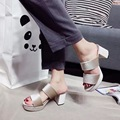 2017 New Arrival Imported Rivets Platform Slippers Thick High Heel Shoes 7cm Casual Walking Shoes