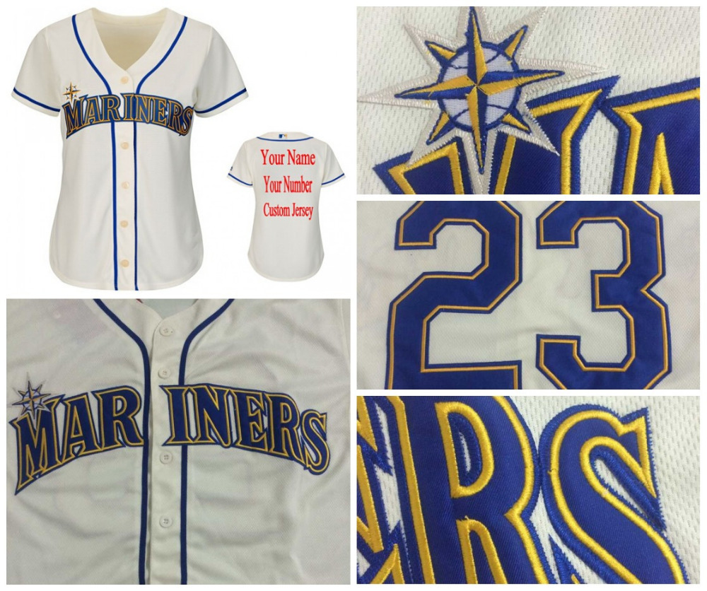 2015 Authentic Alternate Womens Seattle Mariners Customized Baseball Jersey Personalized any name and number stitched Embroidery(China (Mainland))