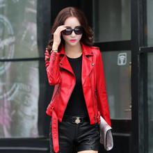 2016 autumn and winter women clothing short slim motorcycle leather jacket women outerwear red color casual female jacket(China (Mainland))