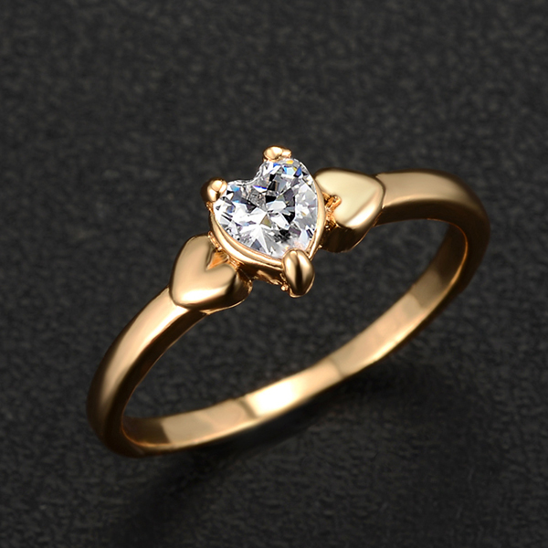 2015 Hot sales Gold Plated Fashion Brand Elegant Romantic Crystal Charm Heart Rings Jewelry New Year's Gift PD22 - Lady Shop (Min order $10 store)