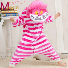 Kids Children Fancy Flannel Pajamas Cute Cartoon Animal Cheshire Cat Pijamas Cosplay Party Costume Boys Girls Pyjamas Sleepwear