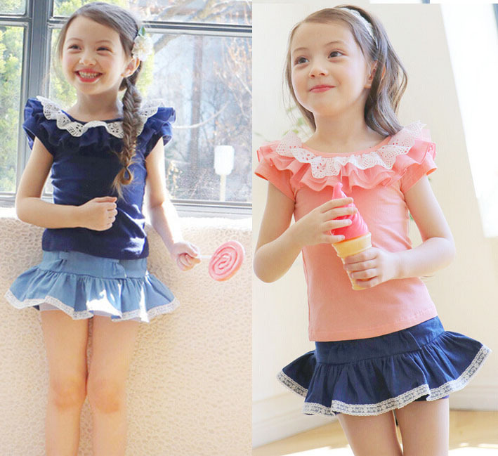 2015 Girls Clothing Sets Outfits Suits cotton lycra lace Tees Tops washed denim Skirt children clothes Kid T Shirt + Skirts(China (Mainland))