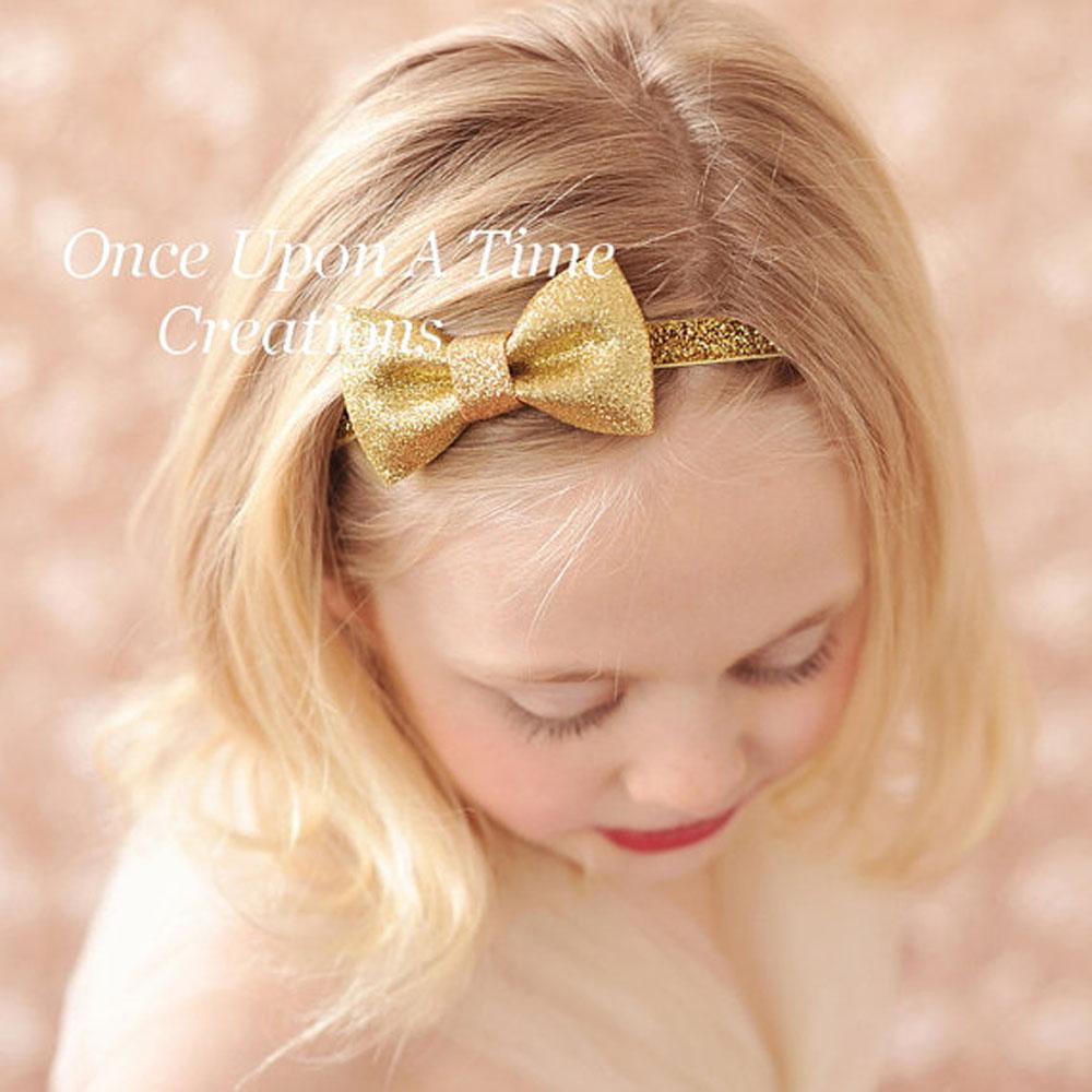 Gold Glitter Bow Headband Neutral Hair Bow Newborn Baby Hairbow Little Girl Photo Prop Christmas 1 PC(China (Mainland))