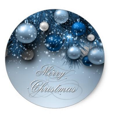 1.5inch Christmas Holiday Ornaments - Blues Classic Round Sticker(China (Mainland))