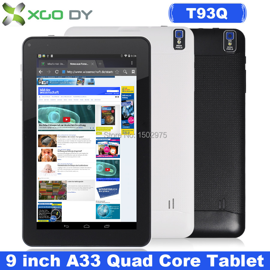 XGODY T93Q 9 Inch Android 4.4 Tablet PC Allwinner A33 Quad Core 8GB Dual Cam WIFI Bluetooth USA UK Stock(China (Mainland))