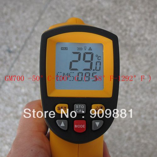 5pcs 100% Brand New  Non-Contact IR Laser Infrared Digital Thermometer -50 Degree-700 Degree 12:1 GM700 POINT Free shipping