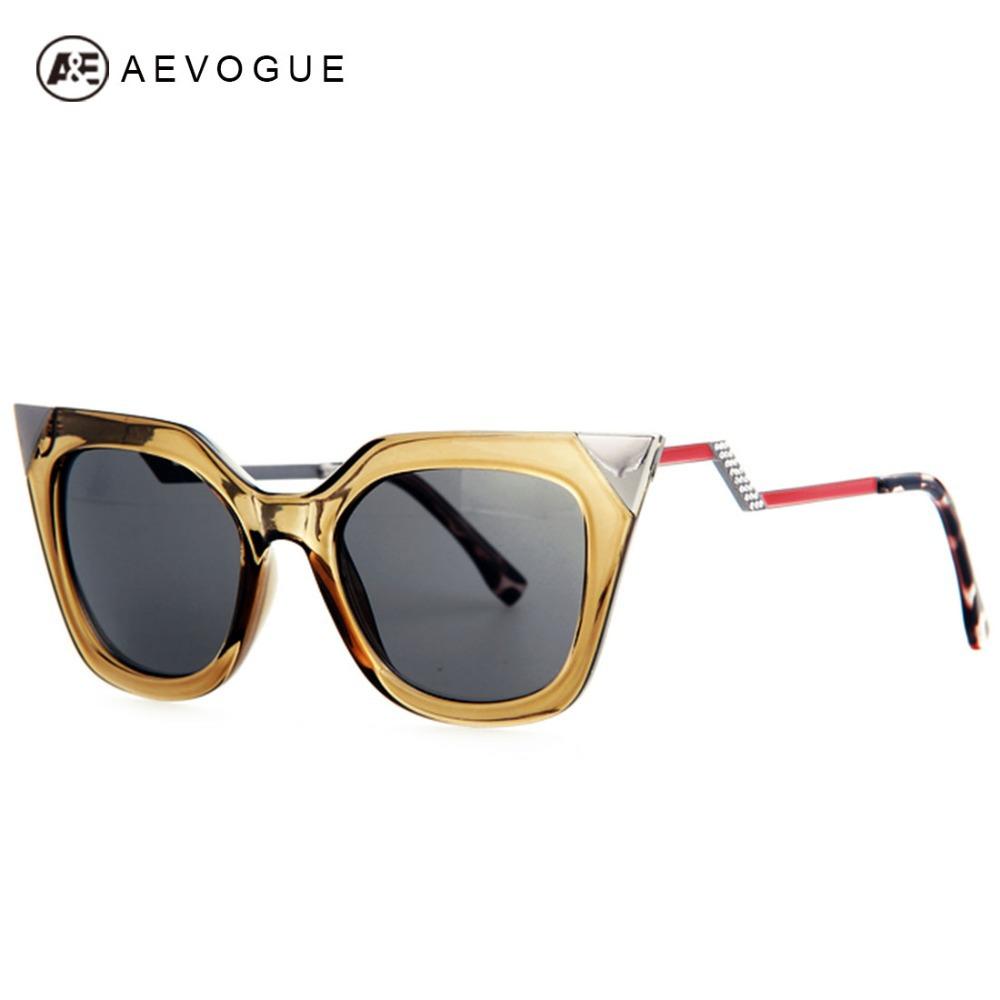 AEVOGUE Brand Cat Eye Bending Temple Sunglasses Women Good quality Sun Glasses Rhinestone Decoration Oculos UV400 AE0203(China (Mainland))