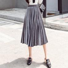Trytree été automne jupe plissée femmes Vintage taille haute jupe velours velours côtelé jupes longues mode jupe métallique femme(China)