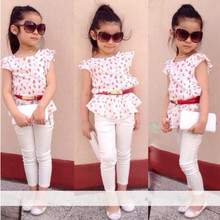 2015 New arrival Girls clothing set suits t-shirt + pants suit European style fashion street shoot cool children's clothes set(China (Mainland))