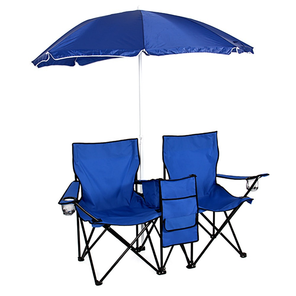 Picnic Double Folding Chair Umbrella Table Cooler Fold Up Beach Camping Chair(China (Mainland))