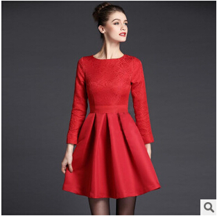 Europe 2015 spring autumn new women'sexys big red embroidery wedding toast bride conference banquet mini dress QY535