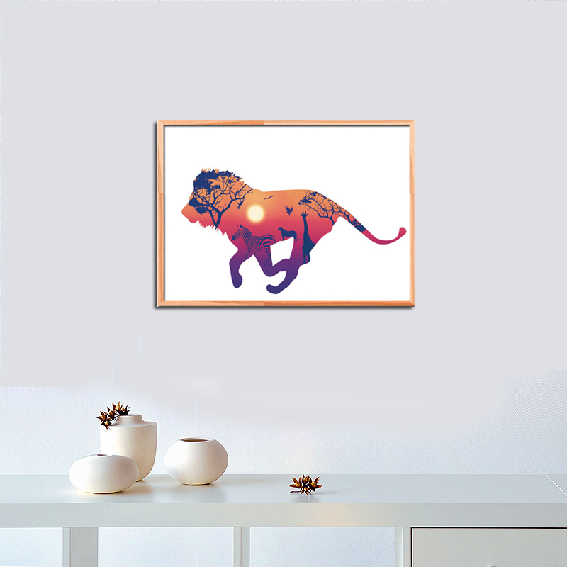 Nordic Colorful Forest Deer Horse Lion A4 Canvas Painting Art Oil Print Poster Kids Room Wildlife Animal No Frame Home Decor