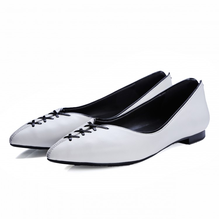 Rice white Spring/summer 2016 womens Shoes ladies Pointed Toe Full Grain Leather Mixed Colors Breathable flats for women Q839<br><br>Aliexpress