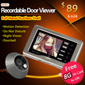 Clear night vision 3.0 inch mini door peephole camera with motion sensor + record video + take photo automatically