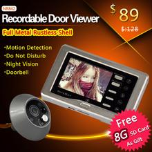 Inteligente de infrarrojos IR agujero del ojo de puerta timbre de la cámara de la cámara apoyo de detección de movimiento y ajustará automáticamente