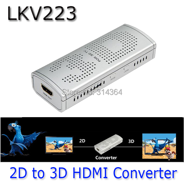 LKV223 New 2D to 3D HDMI Video Converter Box For TV Movie Blue-Ray DVD Set-top Box 2D-3D(China (Mainland))