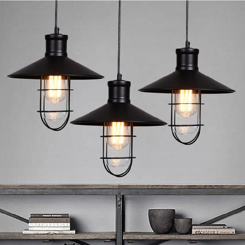 rustic pendant lights vintage style pendant lamps  rounded metal lamp shade Kichler pendant lighting Linear Suspension Lighting<br><br>Aliexpress