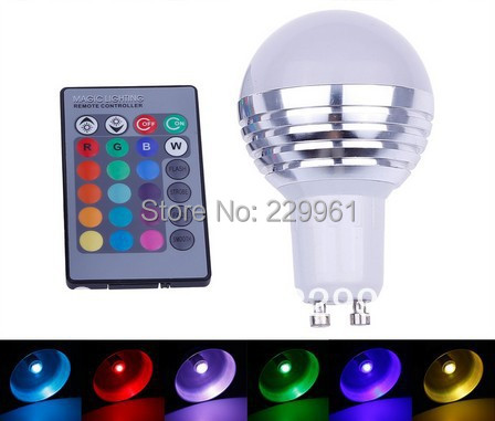 30pcs 3W RGB GU10 Spotlight 16 Colors LED Light Bulb Lamp lighting AC85-265V + IR Remote Control by DHL+ EMS Shipping(China (Mainland))