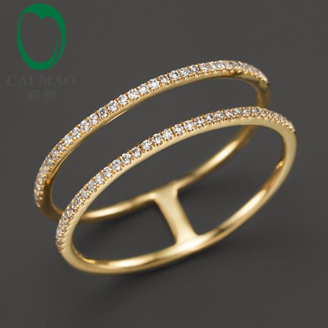 Free shipping 14K Yellow Gold Diamond Wedding Band 0.20ct Round Cut Diamonds Eternity For Anniversary Ring<br><br>Aliexpress