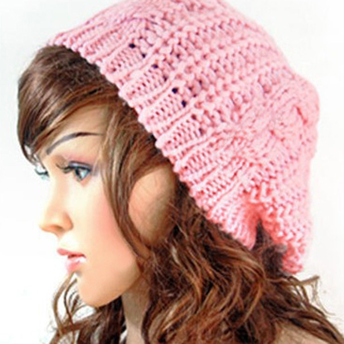 NEWBRAND New Women Baggy Beret Chunky Knit Knitted Braided Beanie Hat Ski Cap Pink<br><br>Aliexpress