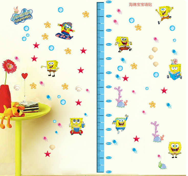Removable PVC SpongeBob Wall Sticker for Kids Rooms Growth Charts Cartoon Wall  Decal Poster Home Decoration Art Wallpaper Kids