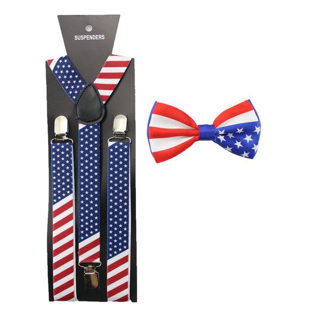 В продаже 2.5 см флаг сша печатных мужская подтяжк боути комплект взрослый мужской ...