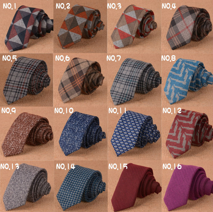 Fashion Skinny Cotton Wool ties for men Custom made Brand name Checked Slim Mens neckties For gift(China (Mainland))