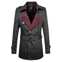 2015 new arrival Autumn  trench coat Plus Size M-6XLTurn-down Collar  Double Breasted CONTRAST COLOR Casual trench coat men()