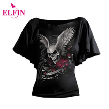 Buy Fashion Short Sleeve Women T-Shirt Batwing Sleeve Skull Print T-Shirt S-5XL Tee Shirt Women Clothes LJ8682R for $8.29 in AliExpress store