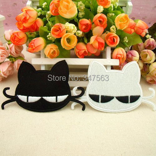 Children's baby patch post children's wear clothing accessories buiter cool glasses black and white cat scrapbooking sewing(China (Mainland))