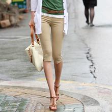 Hot sale Women's Plus Size S-XXXL Summer Slim waist candy color stretch Leggings capris fashion Pencil pants Crops For Female(China (Mainland))