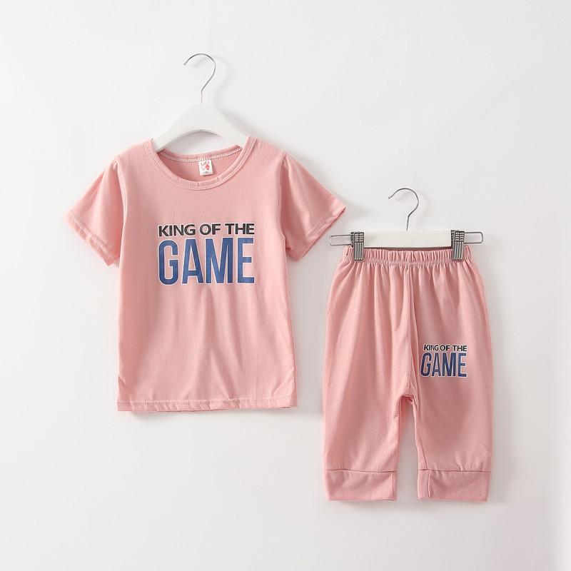 2016 Next Summer Girls Boy Clothes Children Clothing Sets Kids Kids Track Letter Active Short Suitss014