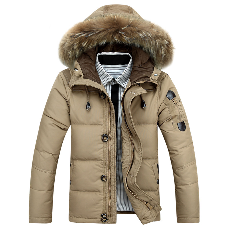 2015 Winter Jacket Men Fashion cotton casual thick pockets Duck Down  Jaqueta Masculina Army Style Windbreaker Fur collar Coat(China (Mainland))