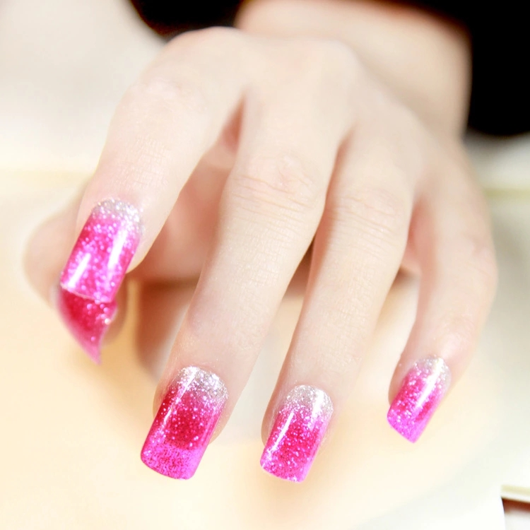 Fashion Nail Art Stickers Pink And Silver Glitter Gradient Manicure Decals Minx Fingernail Styling Nail Wraps
