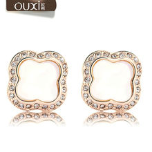 Best Crystal & Quality Big Coupon Earrings for Women Jewelry Cute Brincos Joias White Gold Plated Stud Earrings OUXI ERA035