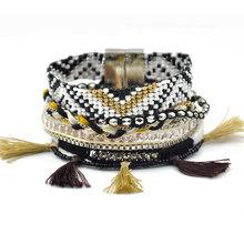 Handmade Bohemia Weave Bead Bracelet Vintage Multilayer Fashion Statement Bracelets for women have S/M/L size B1548(China (Mainland))