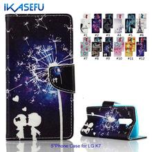 Buy IKASEFU Fashion Colorful Painted Stand Function Phone Case LG K7 Wallet Flip Cover Card Holder Magnet Closure for $3.41 in AliExpress store